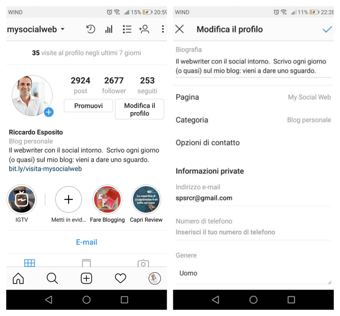 ig opzione account personale